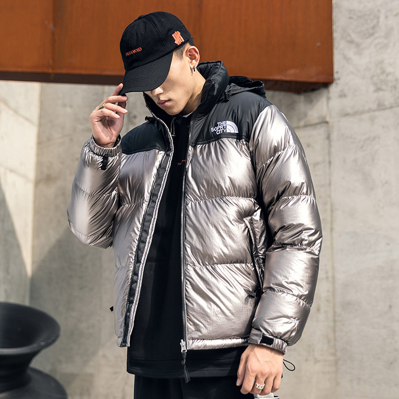 Parka Men Punk Patchwork Gold Thick Mens Hooded Winter Jackets Bomber Jacket Stand Collar Windproof Coat Hip Hop