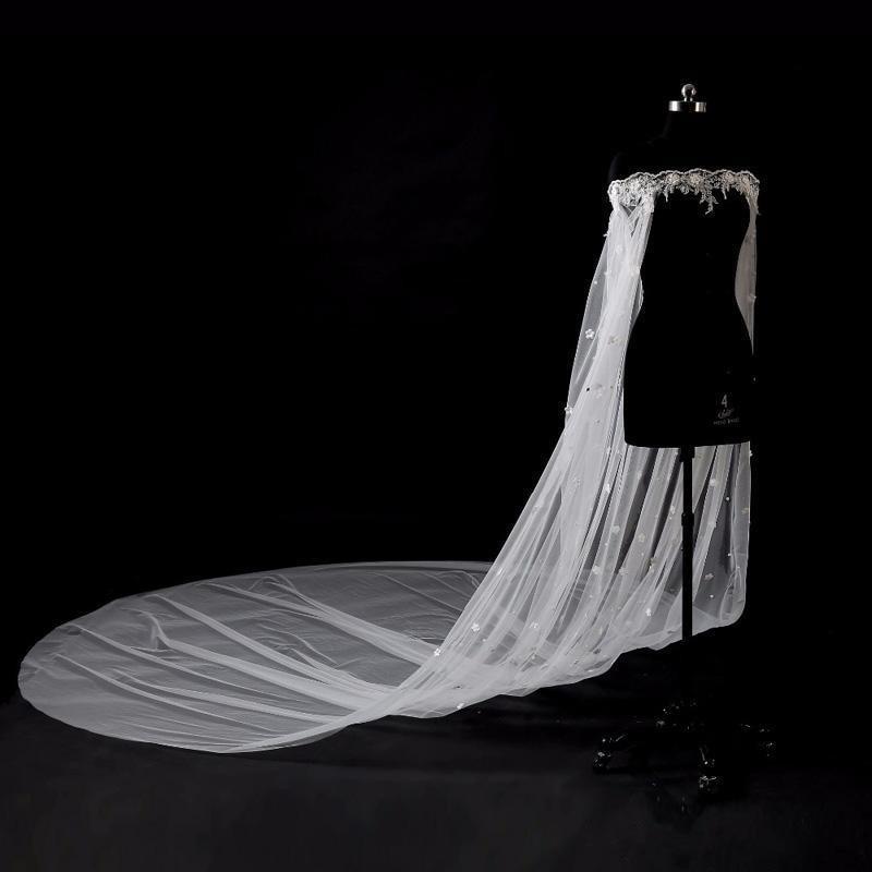 Wedding Cape Veil Bridal Shoulder Veil White/Ivory Tulle Long Cape Cloak Shawl With Lace Wraps Jacket