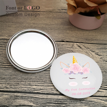 Custom Pocket Mirror Personalized Wedding Favor Button Badge Makeup Mirror Baby Shower Party Favor Christening Baptism Gift 75mm