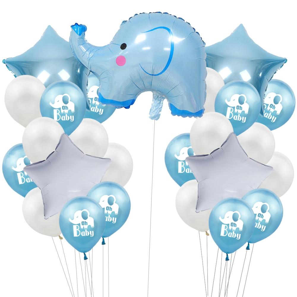 Balão elefante folha de chá de bebê, balão de látex para meninos e meninas, decoração, conjunto de festa de aniversário