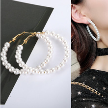 Womens pearl bracelet large ring earrings exaggerated cool trim