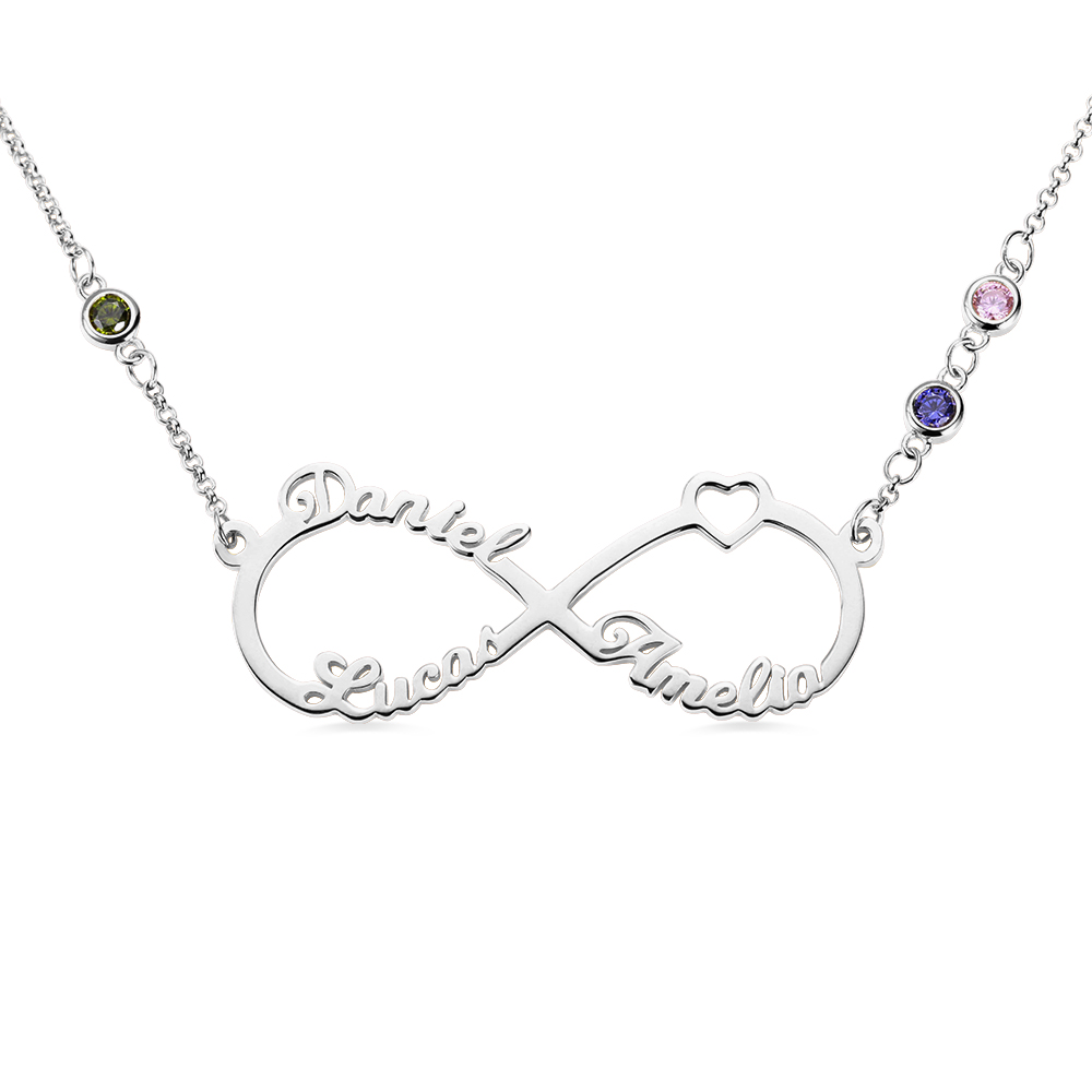 AILIN Custom Name Necklace Personalized Sterling Silver Infinity Pendant Necklace with Birthstones Friendship Jewelry Gift