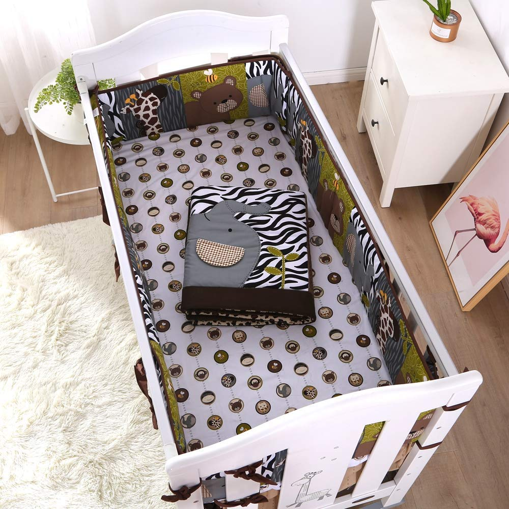 7PCS Embroidery Ropa De Cuna Baby Safety Protection Baby Bedding Set Pure Cotton Crib Bumper (4bumper+duvet+bed Cover+bed Skirt)