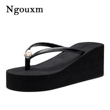 Flip-Flops Slippers Soft-Shoes Summer Wedge Women 7CM EVA PU Outside Ngouxm Light Increasing