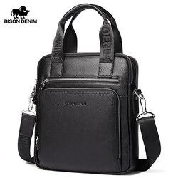 بيسون الدينيم جلد طبيعي ضمان الرجال حقيبة الأعمال حقيبة عالية الجودة رسول باد حقيبة لابتوب الرجال حمل N2333-2