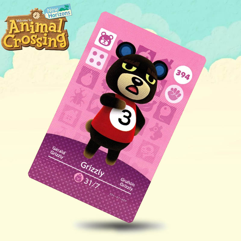 394 Grizzly Animal Crossing Card Amiibo Cards Work For Switch NS 3DS Games