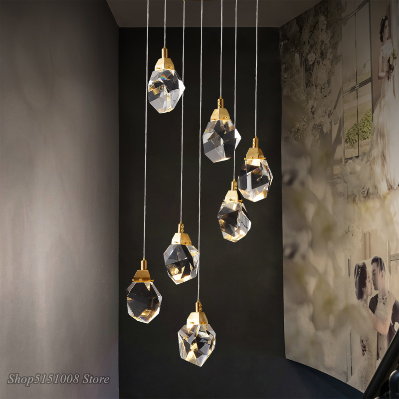 Nowoczesna kryształowa wisiorek Led światła Nordic salon jadalnia Bar kuchnia lampy wiszące oprawa wystrój wnętrz oprawy oświetleniowe