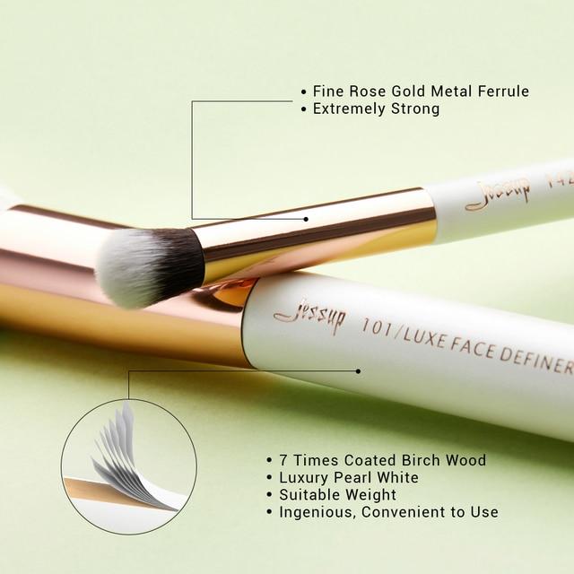 Jessup Makeup Brush Hair Foundation Powder Definer Shader Liner 10pcs Pearl White / Rose Gold Kисти для Mакияжа 3