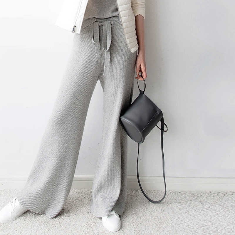 2019 new women's pants cashmere pants women's trousers casual loose wild wool pants autumn and winter knitted warm pants women