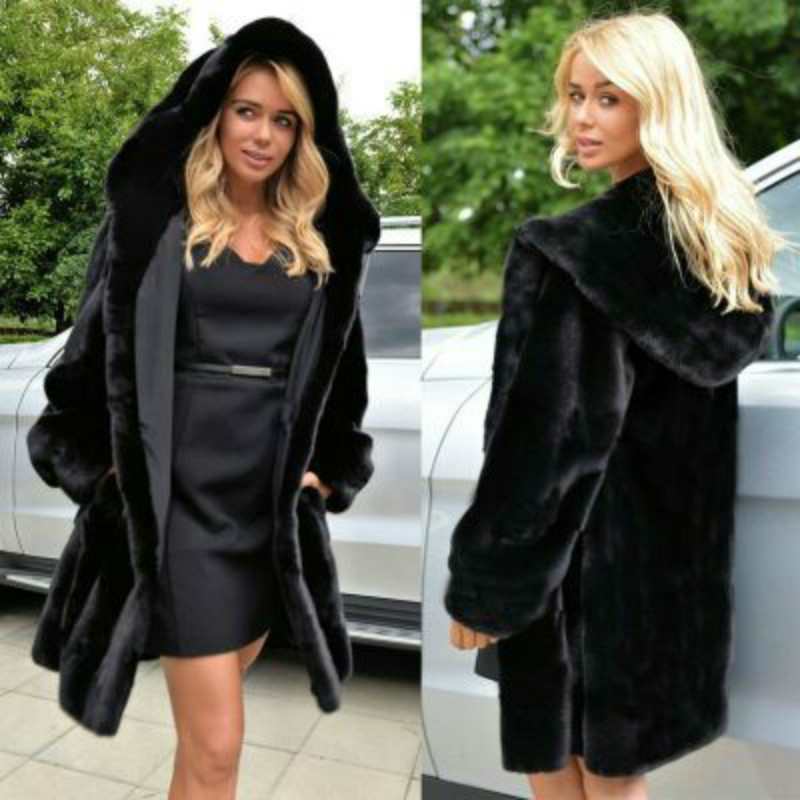 Long Faux Fur Coat Women's 2019 Autumn And Winter New Coats Women's Hot Sale Black Plus Size Plush Teddy Coat Warm Fur Jacket