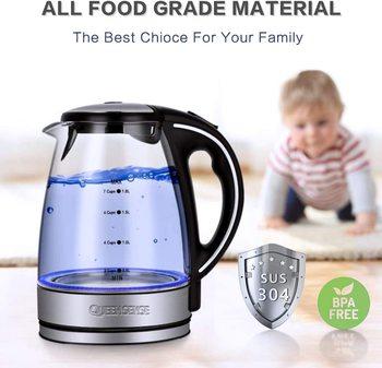 Electric Kettle, 5 minutes 1.7 Quarts Fast Boiling Glass Water Boiler with LED Indicator Cordless BPA-Free Borosilicate Tea Pot цена 2017