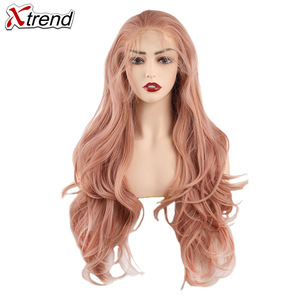 Image 3 - Xtrend sentetik dantel ön peruk kadın peruk siyah kadınlar için vücut saç sarışın pembe zencefil 60 siyah gri mor bakır kırmızı
