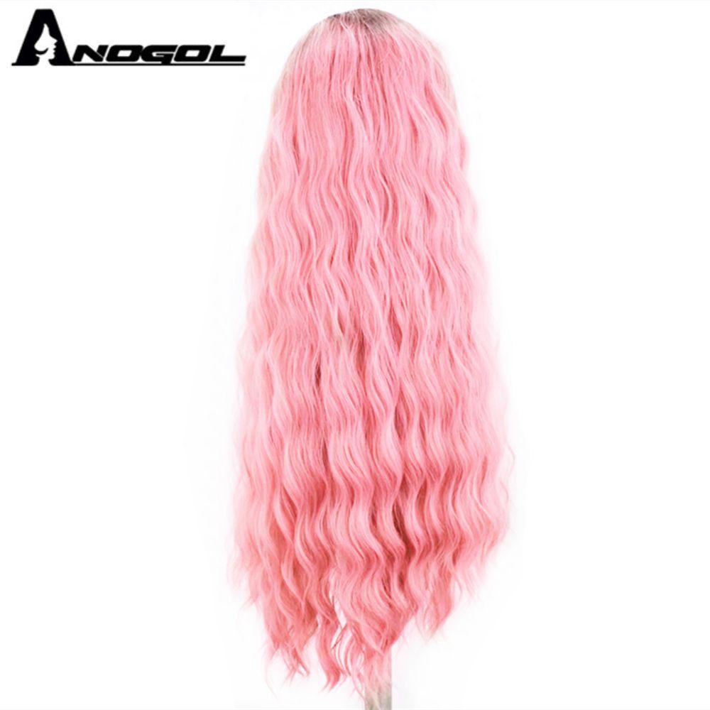 Аногол платиновый блонд 613 медный Розовый Синтетический кружевной передний парик с детскими волосами длинная волна воды высокая температура Futura волоконный парик