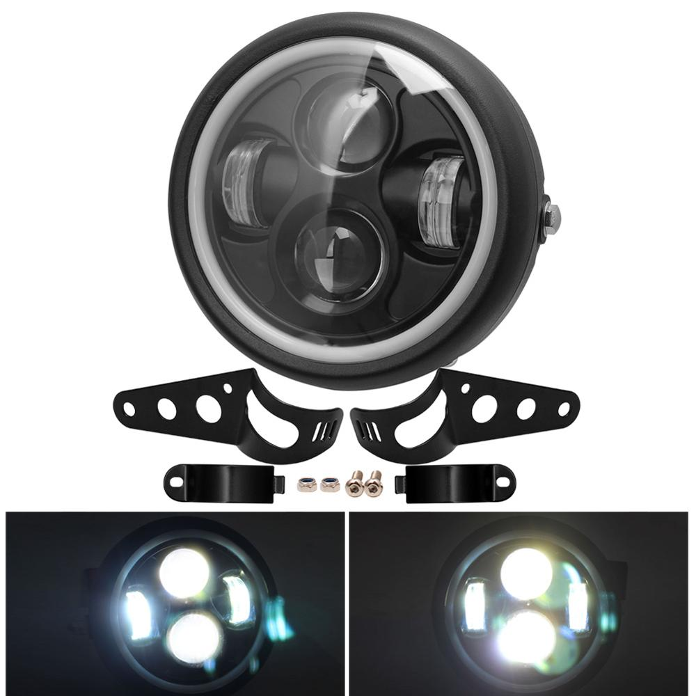 6 5inch Motorcycle Universal LED Headlight Hi amp Lo HeadLamp Bulb DRL With Angel Ring   Mount Bracket For Harley Sportster Cafe Racer