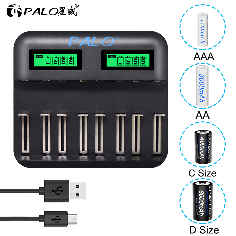 PALO USB Smart LCD Quick Charger AA AAA C D Battery Charger 8 Slots For 1.2V AA AAA SC C D NIMH NICD Rechargeable Battery