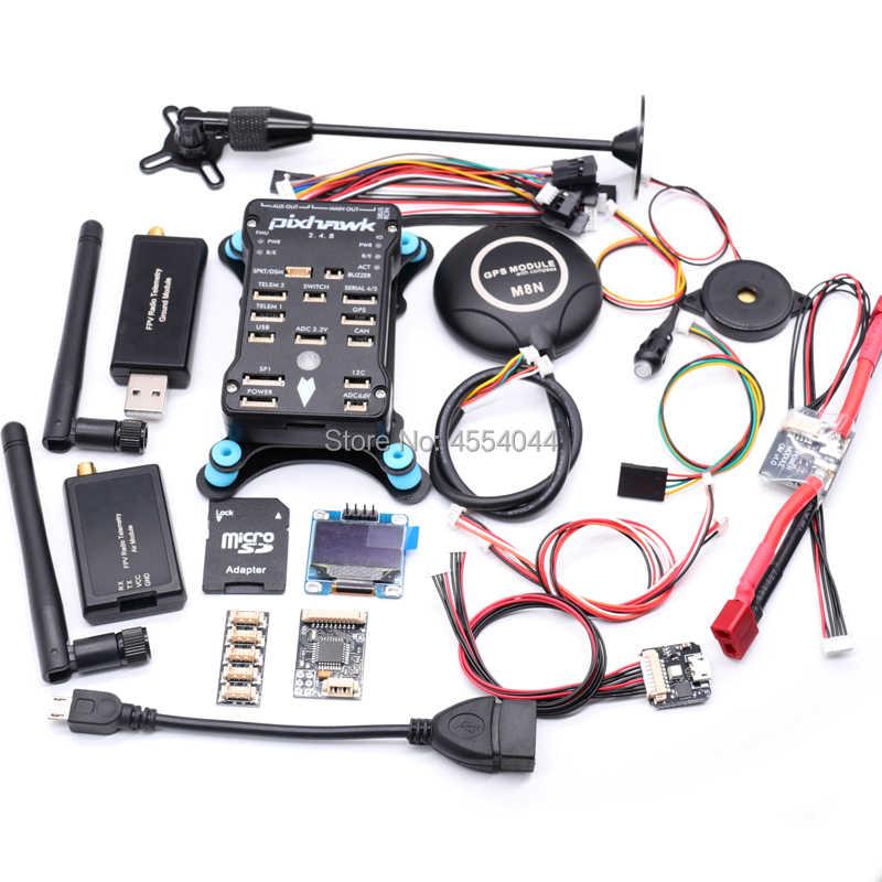 Pixhawk 2.4.8 PX4 PIX Flight Controller M8N GPS 433 Mhz/915 Mhz 100 MW/500 MW Radio Telemetrie + Tplug power modul + OSD OLED + RGB USB