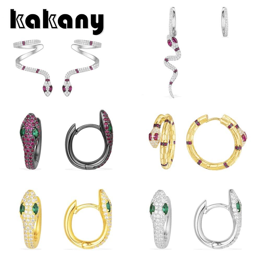 Kakany Original 1: 1 고품질 지르코니아 반짝이 마이크로 상감 지르코니아 뱀 귀걸이 모나코 스타일 패션 여성 매력