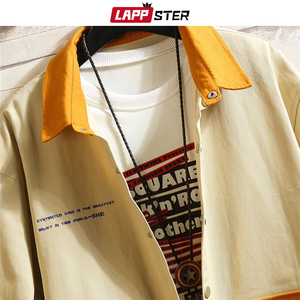 Image 5 - Lappster男性韓国のファッションジャケット 2020 秋メンズ日本ストリートカラーブロックウインドブレーカー原宿カーキコートプラスサイズ