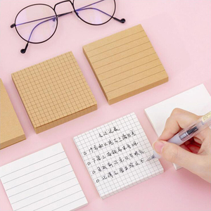 Blank Horizontal Grid Memo Pads Simple Scrapbook Sticker School Supplies Post Sticky Notes Office Stationery