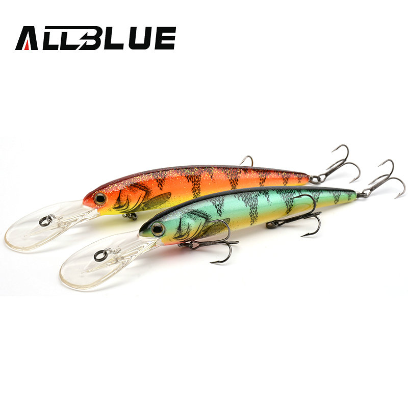 ALLBLUE DEEP WALLEYE Trolling Fishing Lure Wobbler 125MM 19G Floating Crankbait Minnow Bass Pike Bait Depth 3-8M Fishing Tackle