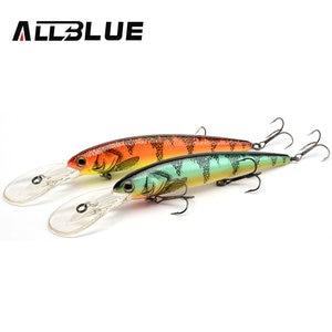 ALLBLUE DEEP WALLEYE Trolling Fishing Lure Wobbler 125MM 19G Floating Crankbait Minnow Bass Pike Bait Depth 3-8M Fishing Tackle