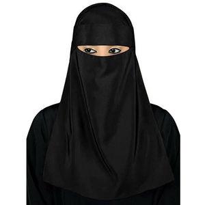 """Image 2 - Мусульманский хиджаб мусульманская вуаль паранджи никаб Nikab Для женщин однотонные Цвет шарф """"Амира"""" Головные уборы арабский молитва хиджаб платок крышка"""