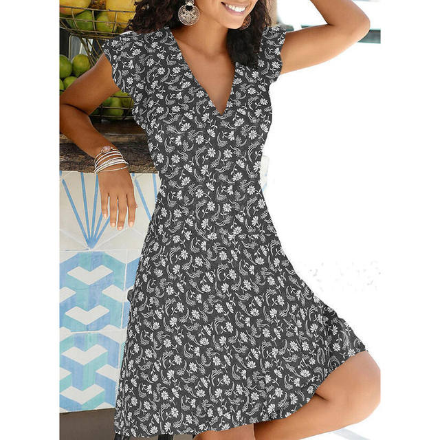 spring mid-calf dress great prints fits smoothly 2