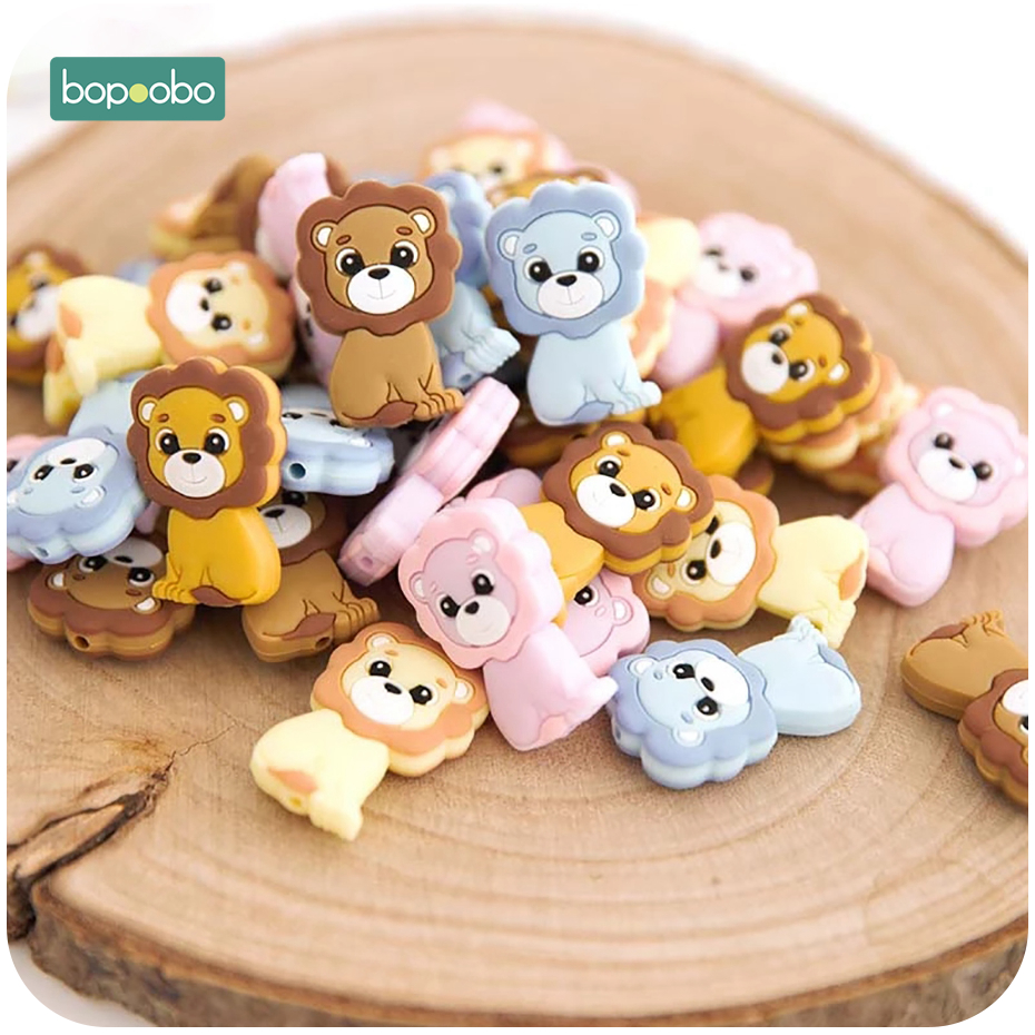 Bopoobo 50pcs Baby Teethers Chewable Beads Silicone Teether Necklace Food Grade Mini Lion Beads For DIY Bracelet Baby Products