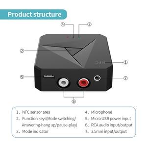 Image 5 - Odbiornik Bluetooth 5.0 nadajnik 3.5mm AUX Jack muzyka bezprzewodowy Adapter Audio połączenie bezprzewodowe i mikrofon NFC zestaw samochodowy do telewizora Auto ON