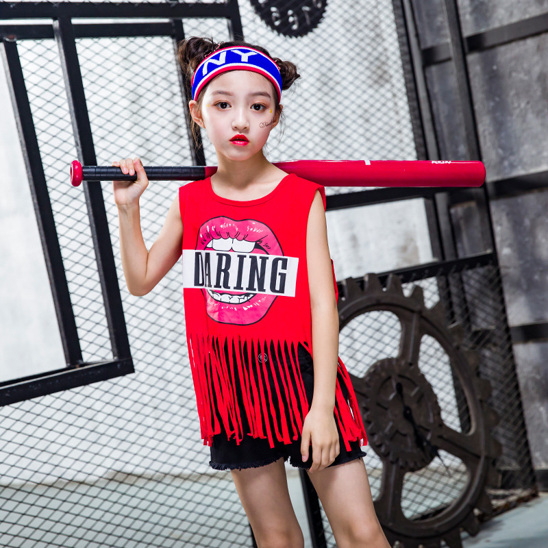 2020 Girl Hip Hop Clothes & Accessories  Hip-hop Performance Serve Child Sleeveless Tassels Hiphop Hip Hop Suit