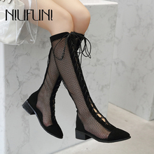 Summer Round Head Hollow Cross Lacing Mesh Women's Boots Mid-tube Rear Zipper Women's Sandals Sexy Low-heeled Boots Net Shoes