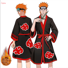 Anime Naruto Cosplay Bathrobe Akatsuki Uchiha Itachi Flannel Pajamas Adult Unisex Winter Warm Nightwear Sleepwear Kimono Robe(China)