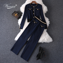 Runway women Suit 2020 Fashion SIngle Breasted Knitted Crop Top Sweater Cardigan