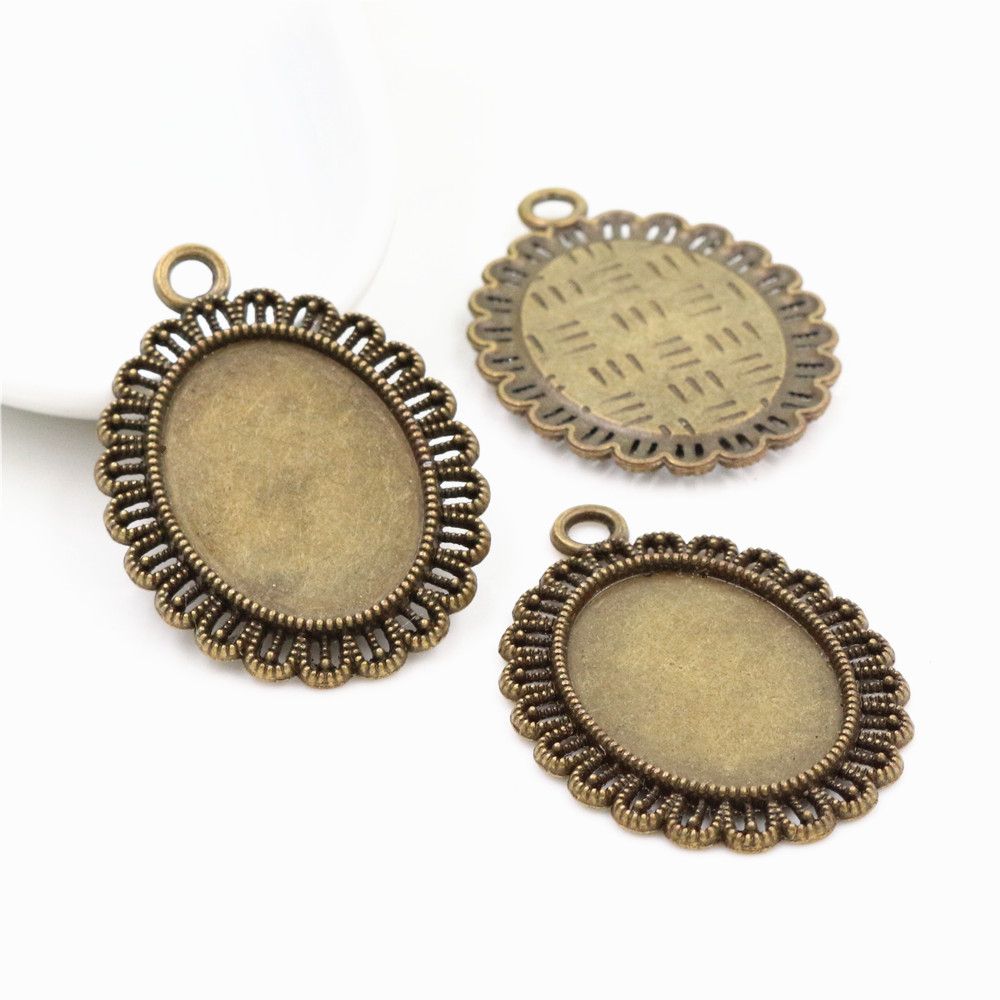 4pcs 18x25mm Inner Size Antique Bronze Flowers Style Cameo Cabochon Base Setting Charms Pendant Necklace Findings  (C3-33)