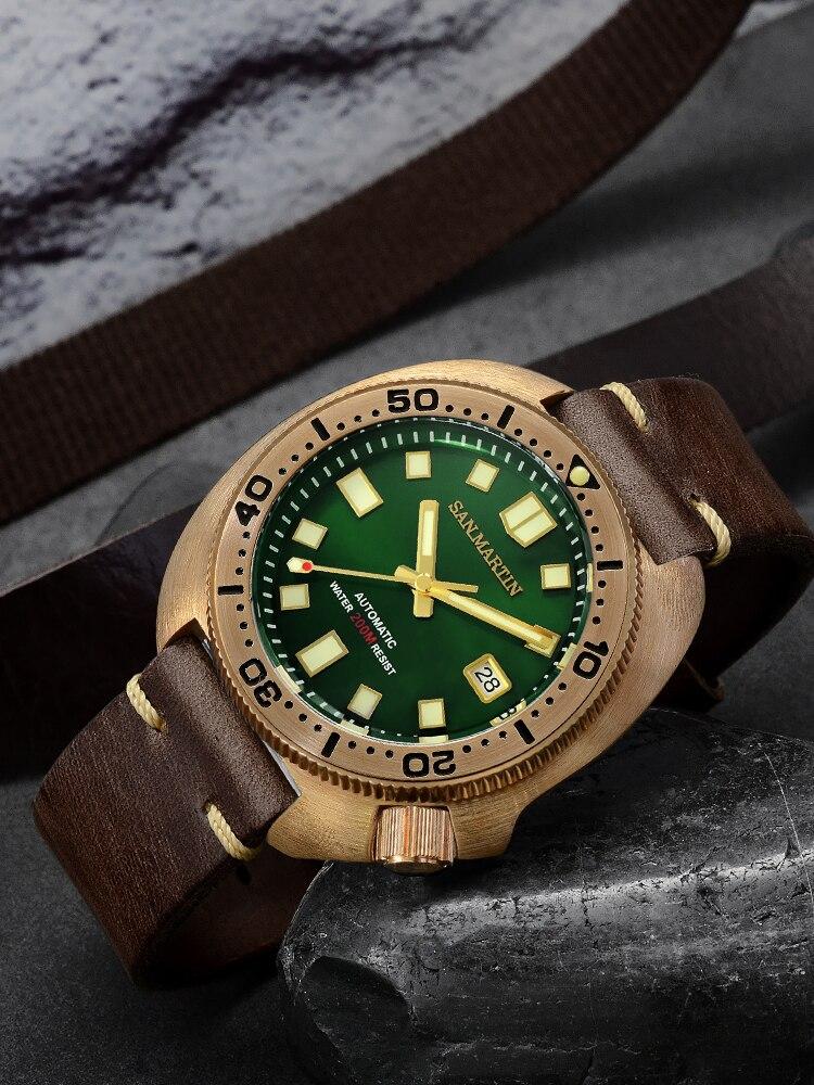 Watches Men Mechanical-Watch Bronze Diver San Martin Water-Resistant 200M Luminous Strap