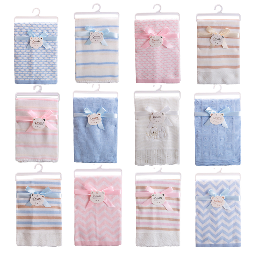 Gooulfi Baby Wrap Soft Acrylic Unisex Infant Kids Newborn Baby Blanket Wave Solid Monthly Toddler Bedding Kids Blanket