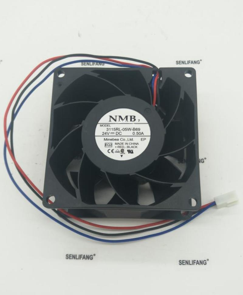 Free Shipping 3115RL-05W-B69 EQ2 Server Cooler Fan DC 24V 0.50A 3-Wire