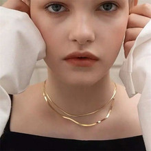 YUN RUO Rose Gold Color Classic Snake Chain Choker Necklace Titanium Steel Jewelry Woman Christmas Gift Never Fade Drop Shipping trendy never fade titanium steel snake chain choker necklace for women