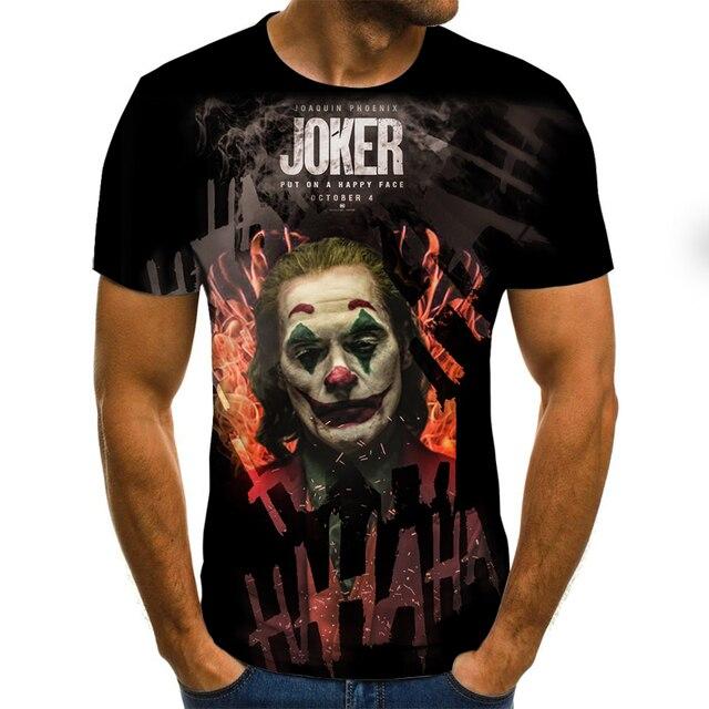 2019 new men t shirt Sketch the clown 3D Printed T Shirt Men Joker Face Casual O-neck Male tshirt Clown Short Sleeved joke tops 3