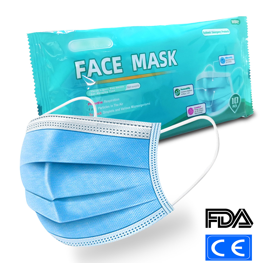50Pcs Personal Disposable Protective Mask 2 Non Woven 1 Meltblown Cloth Dustproof Maldehyde Prevent Face Earloop Mask