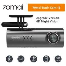 Orijinal Xiaomi 70mai 1S araba dvrı Dash kamera 1080P HD gece sürümü İngilizce sesli kumanda araba araç içi kamera çoklu dil