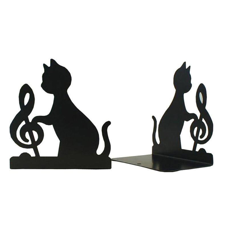 Cat Bookends Book Holder Black Animal Metal Art Bookend Vintage Table Desktop Decoration 1 Pairs, (Black)