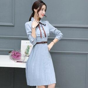 Image 4 - 2020 Thu Đông Vintage Chiffon ĐầM Midi Bodycon Hàn Quốc Áo Sơ Mi Công Sở Áo Nữ Dự Tiệc Tay Dài Đầm Vestido