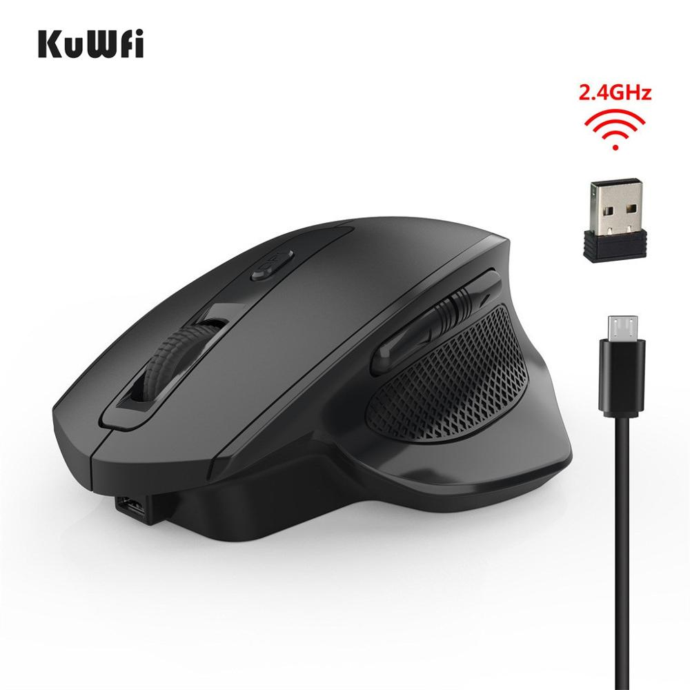 Wireless Mouse Rechargeable Silent Mouse 2.4G Vertical Mice LED Backlit Optical 6 Button 2400DPI Gaming Mouse For PC/Laptop