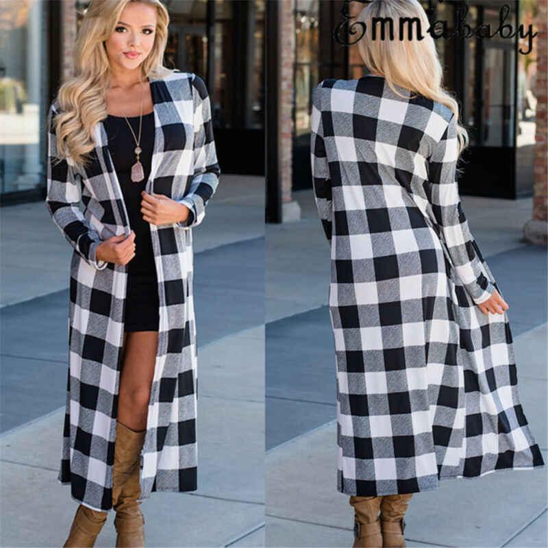 Hirigin mode femmes Long Cardigan Plaid impression printemps automne manteau ample à manches longues ouvert avant mince veste décontractée hauts