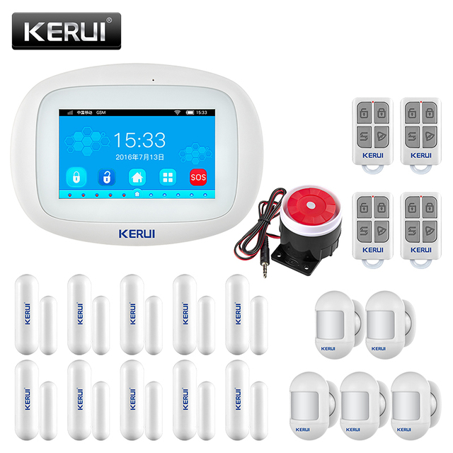 KERUI K52 WIFI GSM Alarm System 4.3 Inch Large TFT Touch Screen Home Security System Wireless Siren Motion Sensor Door Sensor 1