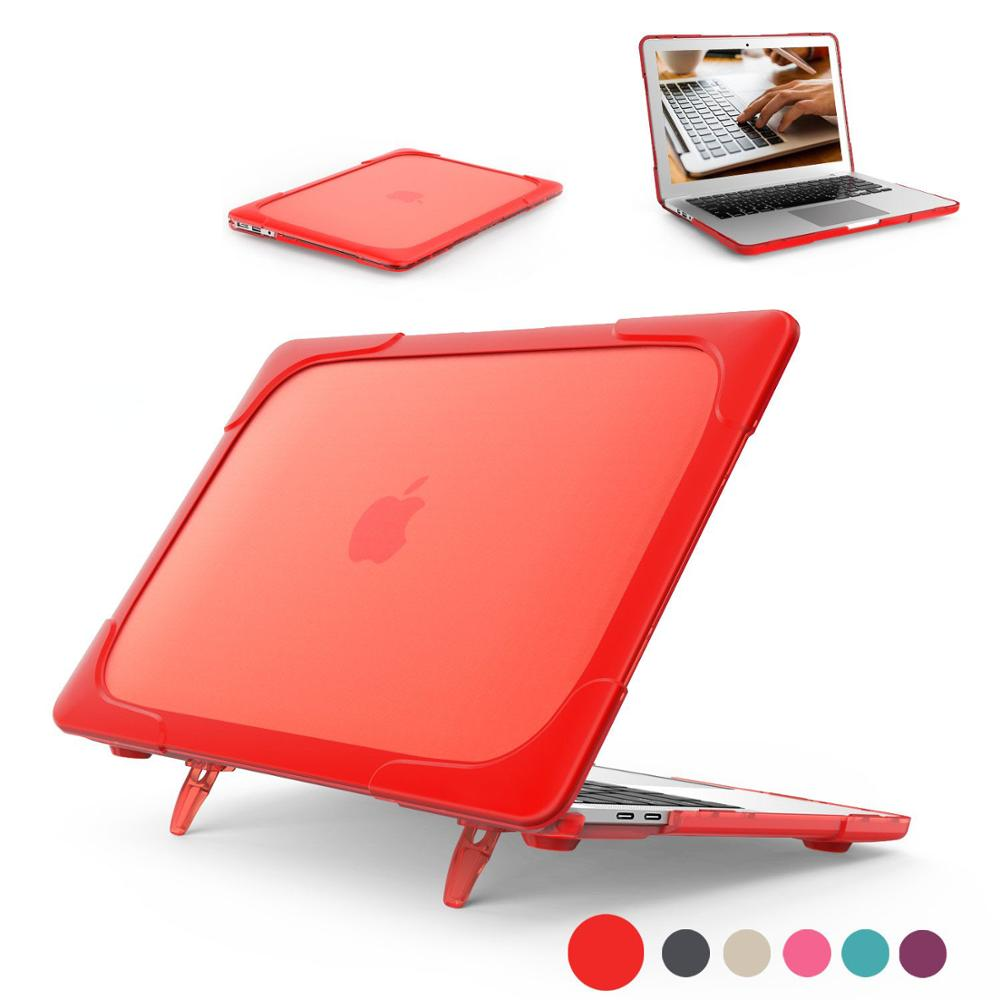 Laptop Case Shockproof Hard Case For MacBook Air 11 12 13 Pro13 15 Foldable Stand For Macbook 13.3 Touch Bar TPU + PC Thin Cover