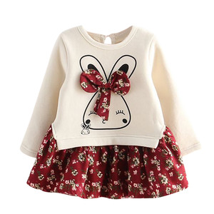 Autumn Winter Cartoon Rabbit Bunny Floral Print Princess Party Fashion Dress Infant Toddler Baby Kids Girls Dress