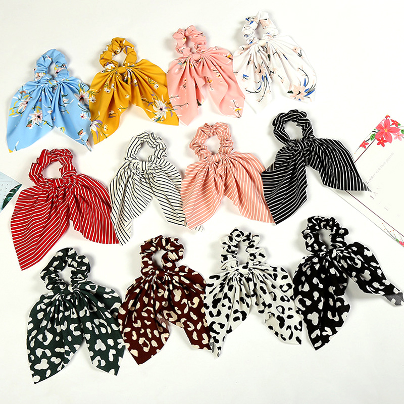 Vintage Floral Stripe Leopard Print DIY Knotted Bow Hair Rope Rubber Bands Scrunchie For Women Girls Hair Accessories Head Wrap