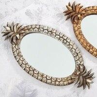 Resin Jewelry Plate Pineapple Design Retro Decoration Fruit Jewelry Cosmetics Storage Finishing Tray Mirror Tray Home Decor